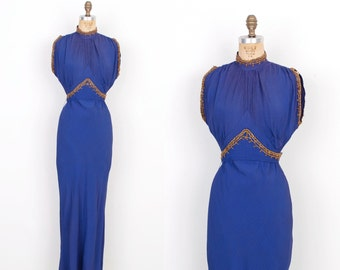 Vintage 1930s Dress / 30s Grecian Rayon Gown / Blue (XS extra small)