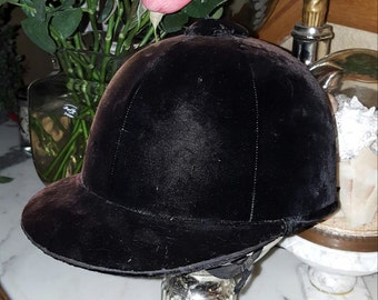 Vintage Black Velvet Equestrian Horse Riding Hat