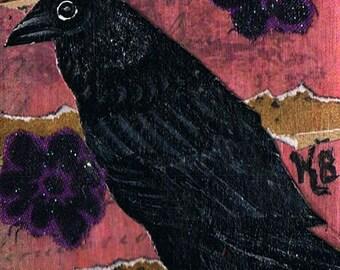 Black Crow, Original, Mixed Media ACEO, Collage, One of a Kind, Miniature Art, Raven, Bird Art Card