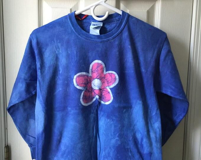 Kids Flower Shirt (Youth M), Girls Flower Shirt, Blue Flower Girls Shirt, Pink Flower Shirt, Long Sleeve Girls Shirt, Batik Flower Shirt