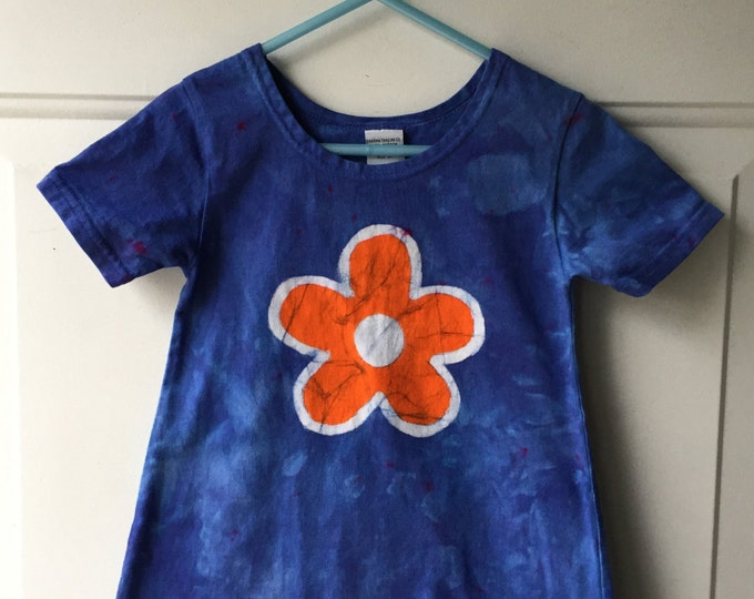 Blue Girls Dress, Girls Flower Dress, Flower Girls Dress, Orange Flower Girls Dress, Batik Girls Dress, Toddler Dress, Batik Dress (2T)