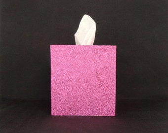Bright Pink, Hot Pink Glittered Wood Tissue Box Cover