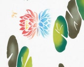 Japanese Tenugui Cotton Towel Fabric, Water Lily, Colorful Lotus Flower, Hand Dyed Fabric, Home Decor Wall Art, Wall Hanging Tapestries,k257