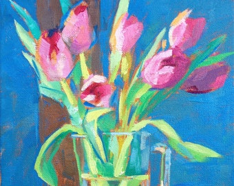 Pink Tulips oil painting 8x10