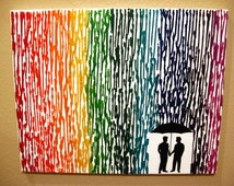 Gay Men Art, Gay Wedding Gift, Melted Crayon Art, Couple Gift For Boyfriend, Rainbow Painting, Silhouette Rain Painting, Wax Painting 16x20