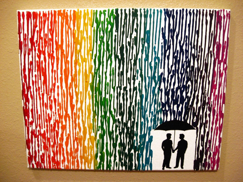 Wedding Gift Ideas Gay Couple : Gay Men Art Gay Wedding Gift Melted Crayon Art by FemByDesign