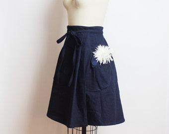 Indigo Denim wrap skirt - Heartland Dark rinse denim - handmade wrap skirt