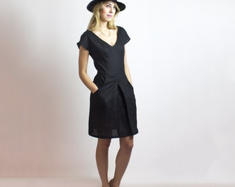 Black Alexa Dress / Organic LINEN & cotton - Sustainable Ethical fashion - New collection