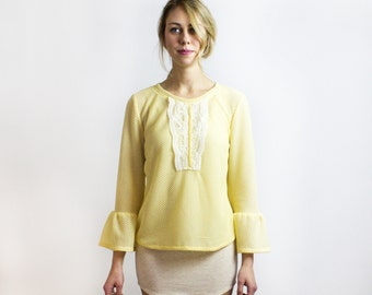 Tulip - Soft Yellow Knit Top / Spring sweater top - boho festival fashion / SS16 collection