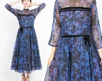Vintage 1950s Party Dress Leslie Fay Original Sheer Chiffon Full Skirt Dress Black Splatter Abstract Print Gown Purple Cocktail Dress M E275