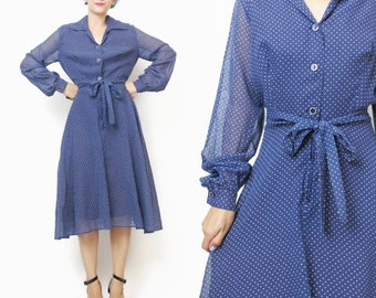 70s Polka Dot Dress Navy Blue Cotton Dress Long Sleeve Dress 1970s Shirtdress Belted Collared Dress Sheer Sleeves Flared Skirt (S/M) E397