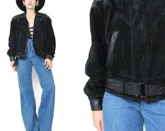 80s Black Leather Biker Jacket Vintage Black Suede Leather Jacket Rocker Cropped Biker Jacket Bomber Unisex Black Suede Moto Jacket  (M)