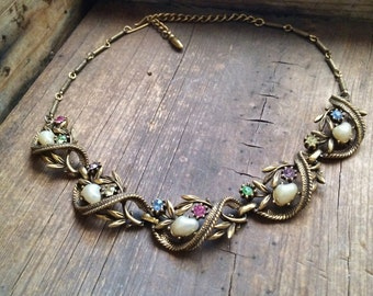 1940s costume jewelry choker brass with pearls multi color rhinestone, vintage wedding necklace, gift her, Hollywood glamour era gold tone