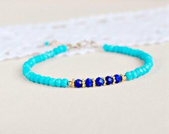 Turquoise and lapis lazuli bracelet, gold filled turqoise bracelet, blue gold stacking bracelet