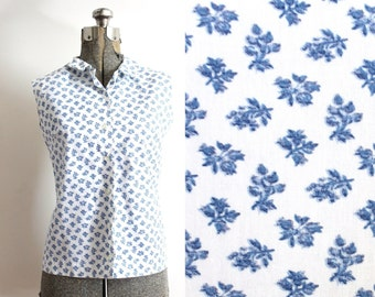 50s Blouse / 1950s Floral Blouse / 50s Sleeveless Pixelated Floral Blouse