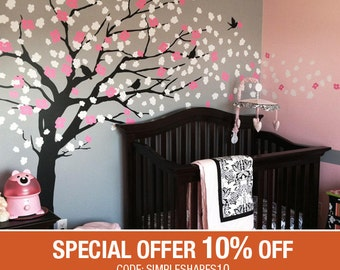 Baby Nursery Wall Decal, Cherry Blossom Tree Decal, Tree Wall Decal, Nursery Decoration, Elegant Cherry Blossom Tree - W1045