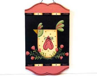 Primitive Folk Art Chicken Sign, Handpainted Wood, Home Decor, Wall Art, Pink and Black