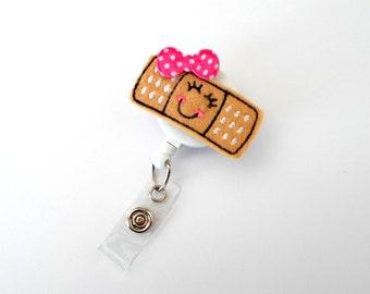 Babbi the Bandaid - Retractable Badge Reel - Name Badge Holder - Pediatric Badge Holder - School Nurse Badge - Felt Badge - RN Badge Holder