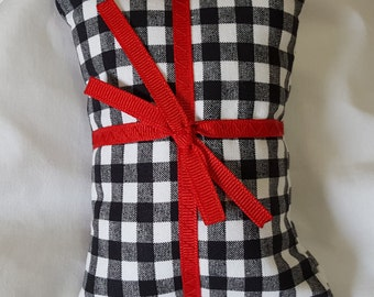 Catnip Pillow Present - black and white gingham with red ribbon