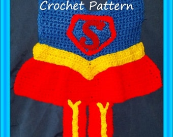 Super Girl Baby  Bib and Bootie Crochet Pattern PDF - INSTANT DOWNLOAD.