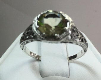 Green Amethyst Ring in Petite Antique Look Sterling Silver Setting