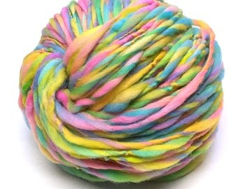 Handspun rainbow yarn, 95 yards and 3.2 ounces/91 grams spun thick and thin and bulky weight in hand dyed merino wool