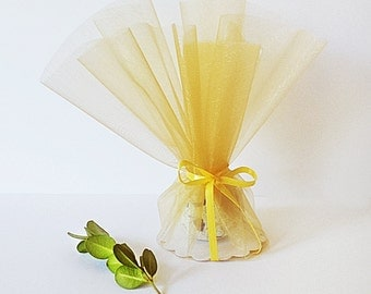 Organza Wedding Favors with Satin RIBBON Raffia 50 Seed Bomb Wedding Favors Personalized Favor, Choose Color