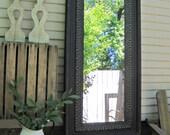 Antique Ceiling Tin Mirror, Architectural salvage, Large vintage mirror, Black mirror, Metal framed mirror, Tin Tile Big Mirror
