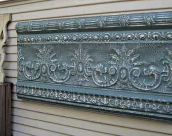 Framed Antique Ceiling Tin. Wall decor. Old metal. Blue decor. Architectural salvage. Vintage ceiling tile. Shabby decor. Large wall art.