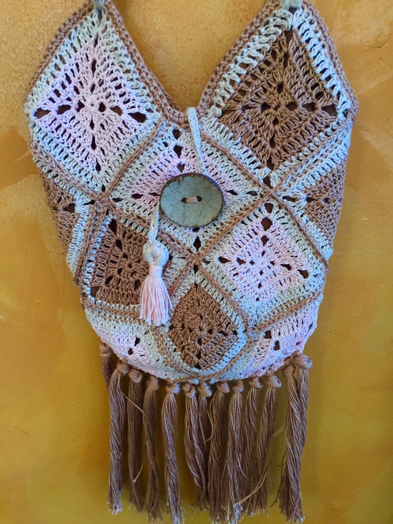 Elegant Hand Crochet with Fringe Hip Bag Purse Beaded Long Straps ...