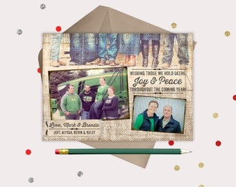 Christmas Cards · To those we hold Deere · 3 photo printable Holiday Cards · Farm Tractor Card