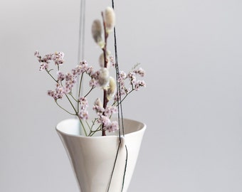 Porcelain Hanging Planter with Waxed Black Linen