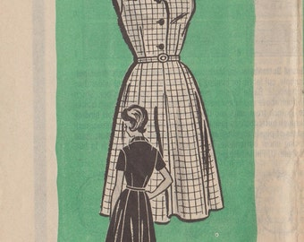 Vintage Mail Order Sewing Pattern 9277 / 50s Dress / Size 14 Bust 34