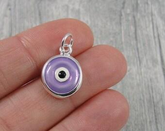 Purple Evil Charm - Silver and Purple Enameled Evil Eye Charm for Necklace or Bracelet