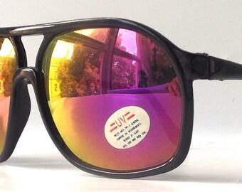 vintage 1980's NOS square sunglasses black plastic frames purple yellow revo mirror lenses sun glasses eyewear accessories modern mens women