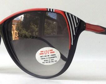 vintage 1980's NOS cat eye sunglasses black plastic frames fashion accessories womens sun glasses retro modern oversized red white stripes