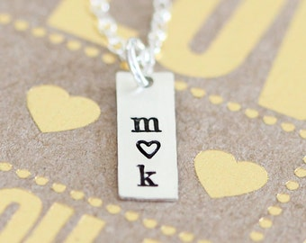 Tiny Initials Necklace, Heart Bar, Personalized Two Initial Necklace, Girlfriend Gift, Dainty Sterling Silver
