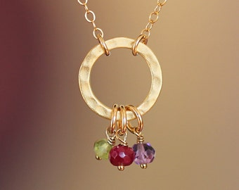 Mothers Birthstone Necklace, Gold Karma Necklace with Birthstone, Mothers Day Jewelry, Grandmother