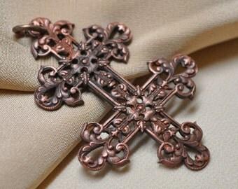 Antique French Cross of Lorraine Ornate Filigree Christian Pendant Authentic Original Solid Brass
