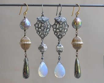 1 Pair Vintage Earrings by Danette Darbonne Couture Jewelry Choose Paste Shields or Vermeil and Pearls