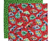 Kids Napkin, Cloth Lunch Box Napkin, Fabric School Lunchbox Napkin for Boys, Race Cars, 1 double sided napkin