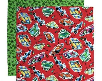 Kids Napkin, Cloth Lunch Box Napkin, Fabric School Lunchbox Napkin for Boys, Race Cars, 1 double sided napkin