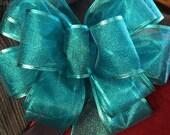 Big Bow Sheer Aqua Blue Christmas Tree Topper Wreath Wall Decor Mantel Christmas New Year Mantel Decor Wedding Read