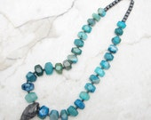Statement Necklace [Chunky Statement Necklace Long Blue Agate Pendant] DEEP BLUE