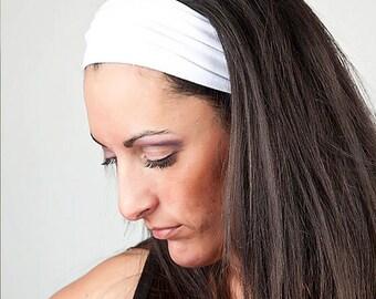 Adult Headband, White Hair Band, White Head Wrap, Yoga Head Wrap, White Wrap Headband (#1014) S M L X