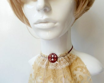 Original Boho, Victorian Deconstructed, Antique Lace & Vintage Button Flounce, Dickie, Choker, Victorian, OOAK, Upcycled, Designer Neckwear