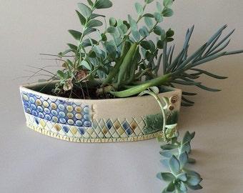 Ceramic Planter, Succulent Planter, Ceramic Flower Pot, Indoor Gardening, Low Pocket Planter, Gardening Gift