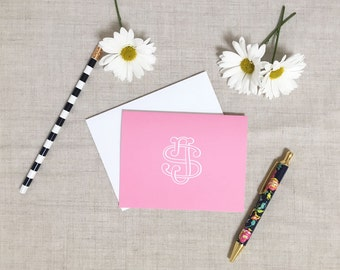 Monogram Folded Note Cards | Set of 10 | Folded Stationery | Personalized Gift | Solid Color | Gift for Her | Hostess Wedding Anniversary
