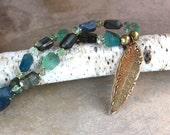 Large Feather Pendant Necklace Artisan Golden Bronze Feather w Aqua Blue Fluorite Nuggets Gemstone Jewelry