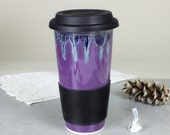 Amethyst Purple Travel Mug with Lid for Mom, Lavender To Go Mug with Silicone Lid, BlueRoomPottery handmade pottery